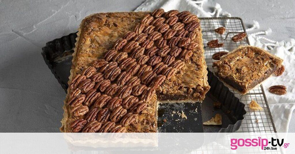 Τάρτα με πεκάν, σοκολάτα και καραμέλα από τον Άκη Πετρετζίκη